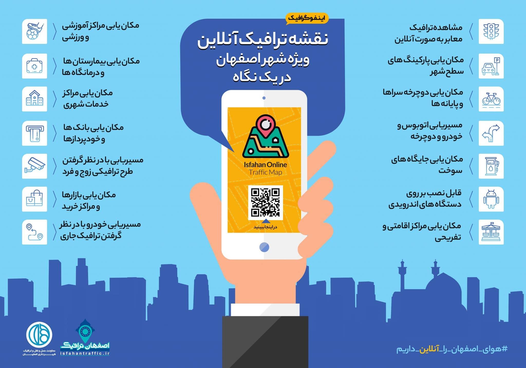 اینفوگرافیک نقشه ترافیک آنلاین اصفهان